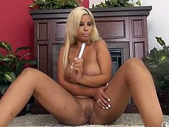 Curvy Bridgette B strips and pleasures her hot pussy