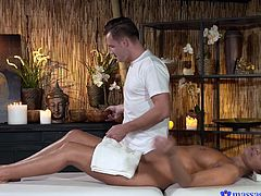 This hot brunette milf really knows how to express her gratitude for a special massage. The naked slut looks so attractive, as her crazy body has been entireley oiled. Click to watch naughty Tera, sucking the skilfull masseur's dick. Have fun!