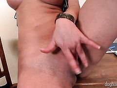 Blonde Walleria spreads her legs to fuck herself, take toy in her dripping wet snatch