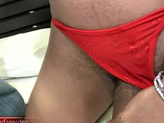 Bom is another hot Pattaya ladyboy who will blow your mind and your load. The countdown to detonation begins with her cock sucking while she plungers her own stick of dynamite until it explodes...