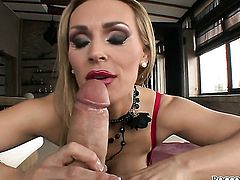 Rocco Siffredi fucks Fascinating sex kitten Tanya Tate in her mouth as hard as possible in steamy oral action