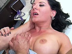 Casey Cumz is one voluptuous dark hair milf with black stockings thats going to blow Bill Bailey, give him a great titjob and then get drilled like a real whore.