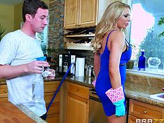 naughty briana gets dirty in kitchen