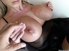 Rocco Siffredi uses his beefy schlong to bring blowjob addict Nikki Benz with gigantic hooters to th