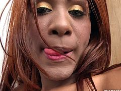 Is there anything finer than a hot shemale with dark skin and a massive hard on? She uses bottles of oil on her skin, to make it shine. It also makes for nice lube on her big dick. The slut pulls her cock back in between her legs, to flash her asshole and peehole at the same time.
