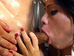 Both of these naughty trannies team up to fuck their man so hard. One of the shemale sluts sucks on the dude's cock, while she gets ass railed by the other stunning Latina ladyboy. She is the meat in this hot sex sandwich.