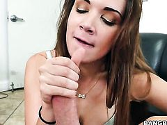 Brunette with bubbly butt has a nice time jerking dude off