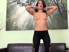 Sexy Layla Sin strips and screws her new dildo
