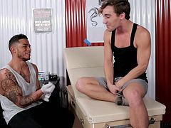 Tyler went to see Diego for some physical therapy, but what happens next, is not a standard practice. Diego goes in to kiss Tyler and gently massage his crotch. They start getting naked and playing with each other's cocks.