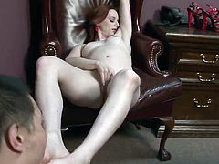 Audrey Lords licks Eric Jover's sausage And Lets Him Lick Her Feet
