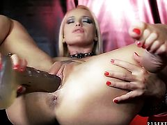 Blonde Kathia Nobili makes her dirty dreams a reality with dudes love torpedo deep down her throat