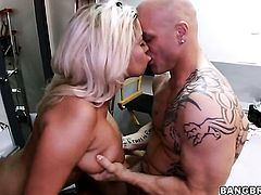 Bridgette B feels intense sexual while jerking guy off
