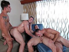 Big boobs and huge asses won't turn on these men and they like huge dicks. One cock is not enough for their hungry bottoms and they always prefer gangbangs. This gay orgy is something special and the weakest guy in the group receives cum shower. Watch the full video to know who that unlucky guy is.