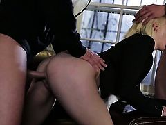 Ash Hollywood is on the way to the height of pleasure with her mans fuck stick in her mouth