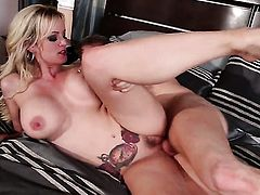 Stormy Daniels gagging on rock solid meat pole of hot fellow