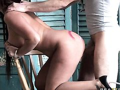Frank Gun shows nice anal tricks to Amanda Black with gigantic boobs with the help of his throbbing rod before throat job