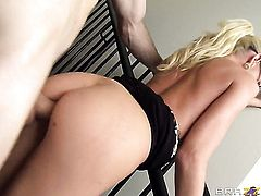 Blonde Madison Scott with gigantic knockers is in the mood for ram rod sucking
