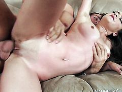 Brunette Victoria Rae Black with small booty and smooth muff does lewd things and then gets her pretty face covered in love cream