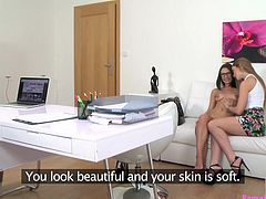 Seducing beautiful model is an art and we mastered it. A small tip: Just offer them some modeling chances and promise them bright future, and they will to do anything for you. Watch how this model agreed for her first lesbian encounter and she didn't even think for a second, before saying