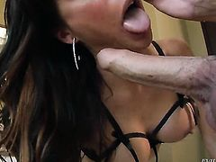 Jonni Darkko admires lustful Gia DiMarcos body before she takes his meat pole in her deep down her throat