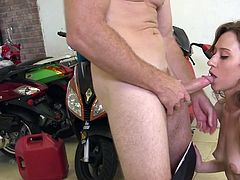 Will Kylie go all the way and suck some cock, to get some money? Those crisp U. S. dollars sound very appealing and all she has to do, is get naked, and do some very naughty things in the bike shop. She does it and enjoys it so much! The stunningly sexy host even helps her take it from behind.