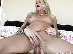 Blonde Simone Sonay with firm bottom and bald cunt is just a slut that masturbates a guy