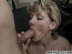 A naughty amateur Milf in this hot homemade anal threesome ! Blowjob, fuck, anal and cumshots ! She eats cum from syringes ! Amazing...