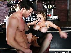 Blonde with big boobs and shaved pussy cant live a day without getting fucked by dudes stiff man meat