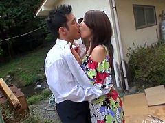 A bored but sexy Japanese housewife, decides to bring a bit of excitement into her life, by taking the door to door salesman outside, behind her apartment, to suck his cock in public. She gets so wet with his full length in her mouth and the risk of her neighbors seeing her.