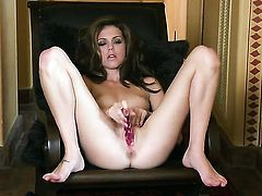Kiera Winters with small breasts and trimmed snatch goes solo for camera