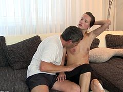 Skinny girl gets frisky with an old guy that fucks her hard