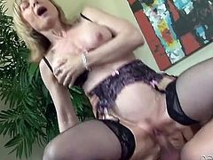 Naughty Nina Hartley riding dick erotically
