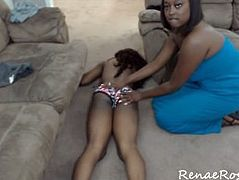 Ebony lesbian KO and strip