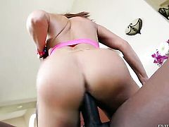 Redhead chachita Lexington Steele shows off her sexy body as she gets her mouth fucked by mans throbbing love wand
