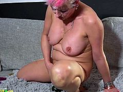 I thought that an old nanny would be the perfect choice, but soon I discovered on hidden cam, what she was really doing. She stuffed a whole zucchini in her butt hole, then fisted her old horny cunt with it. A big toy comes after, see with your eyes.