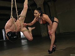 tony orlando submits to rope bondage with suspension, cock teasing, rough pegging