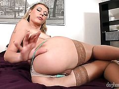 Blonde Melissa Ria parts her legs to fuck herself, take toy in her eager bush