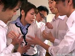 A sexy Japanese teacher likes to wander into the male locker room, to get feedback on the biology lesson she gave. The four horny students decide to show their appreciation, by stripping her down and sticking their hard cocks in her mouth. She makes a note to herself, that they all must get straight A's.