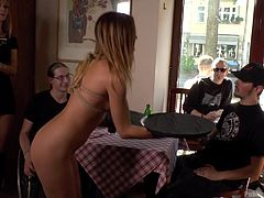 While a lot of people are taking meal, Lullu is persuaded to walk naked among them and serve at the table. Mona is a merciless mistress and her wishes must be obeyed. The sexy nude babe attracts all the regards... See the kinky details!