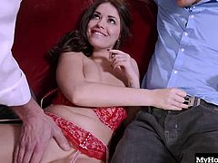 Ava Dalush is always down to suck a big cock or two, so when Marcus and his friend Demetri made a move on this brunette, she figured they would be perfect for her initiation. She has to take a load of a man she just met, so she figures two will get her an even better spot in the group shes becoming a part of quickly, she involves a lot of cock sucking with one eye open, as Ava likes to do it before taking a raw dick up her pussy.