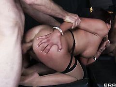 Brunette exotic Mia Lelani with huge hooters and hot guy are horny for each other in interracial porn action