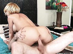 Blonde oriental vixen Kagney Linn Karter cant resist the temptation to take guys rock hard rod in her hands
