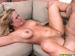 Blonde Holly Heart with massive breasts and bald pussy polishes lucky dudes erect rod with her lips