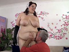 Beautiful BBW gets her soft and gentle tits sucked good by an older guy. Then she opens her pussy for him to fuck and he fucks her so deep and cums on her tits.