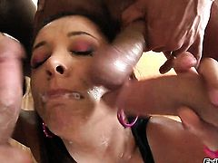 Latin Ruby Rayes shows off her hot body as she gets her mouth fucked
