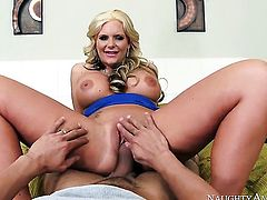 Blonde exotic Phoenix Marie with gigantic tits and smooth bush enjoys another solo sex session after stripping down to her bare skin