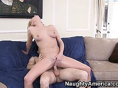 Blonde Mark Zane gets her lovely face covered in love cream after sex with horny guy