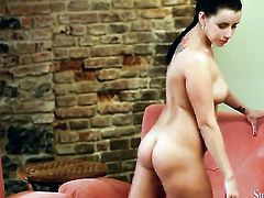 Brunette satisfies her sexual needs and desires alone in solo action