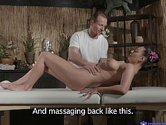 A neck massage can be the solution to release tension. Eva looks more relaxed, as she lays down on the massage table, as the skilfull guy rubs her oilly skin. The brunette babe has got wonderful tits and a crazy ass, so it's easy to understand, why the man's cock gets so hard. See this hot lady playing dirty!