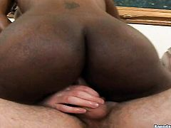 Nyomi Banxxx with big bottom and clean bush lets guy stick his beefy ram rod in her mouth